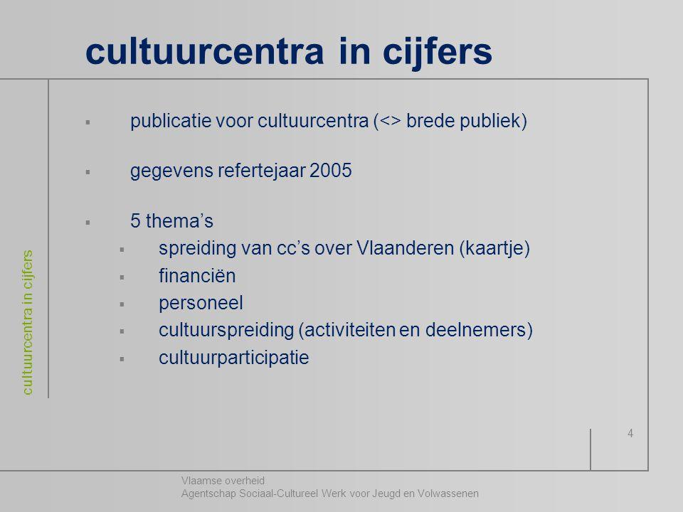 Vlaamse overheid Agentschap Sociaal-Cultureel Werk voor Jeugd en Volwassenen cultuurcentra in cijfers 4  publicatie voor cultuurcentra (<> brede publ