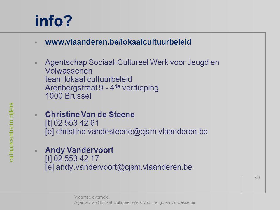 Vlaamse overheid Agentschap Sociaal-Cultureel Werk voor Jeugd en Volwassenen cultuurcentra in cijfers 40 info?  www.vlaanderen.be/lokaalcultuurbeleid