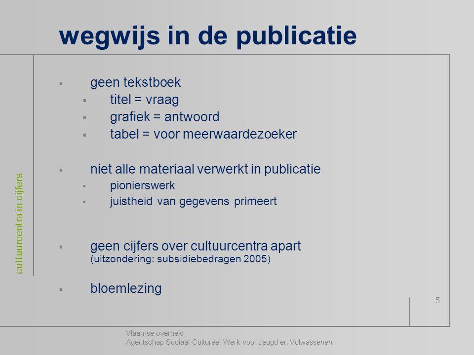 Vlaamse overheid Agentschap Sociaal-Cultureel Werk voor Jeugd en Volwassenen cultuurcentra in cijfers 5 wegwijs in de publicatie  geen tekstboek  ti