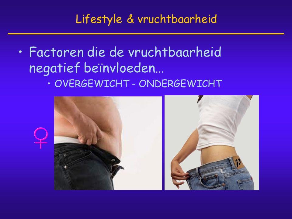 •Factoren die de vruchtbaarheid negatief beïnvloeden… •OVERGEWICHT - ONDERGEWICHT Lifestyle & vruchtbaarheid