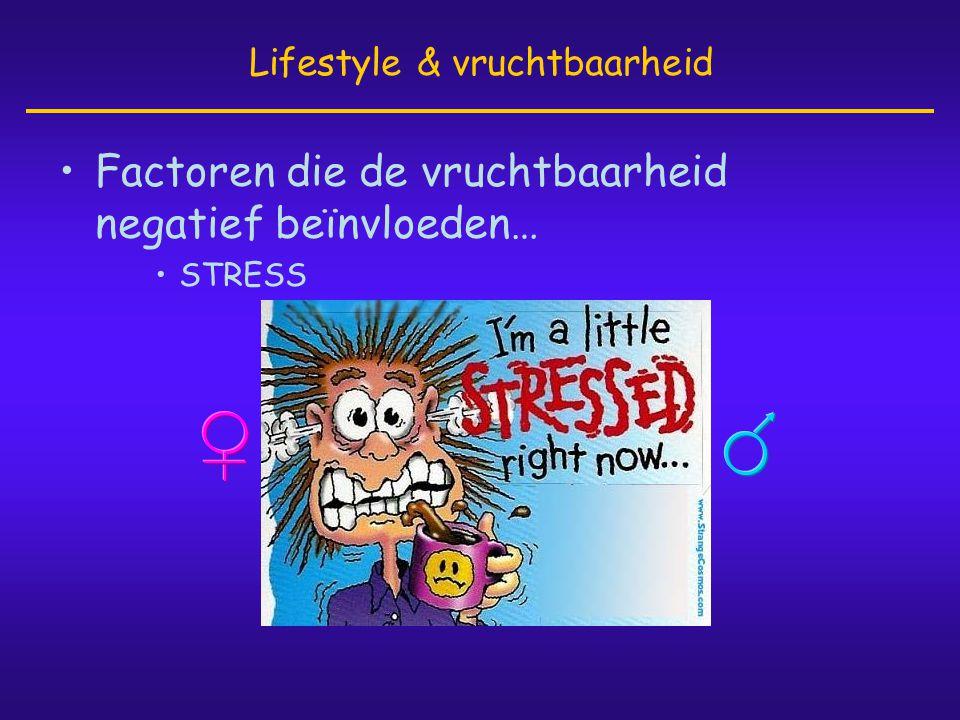 •Factoren die de vruchtbaarheid negatief beïnvloeden… •STRESS Lifestyle & vruchtbaarheid