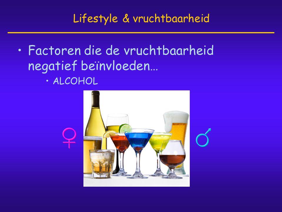 •Factoren die de vruchtbaarheid negatief beïnvloeden… •ALCOHOL Lifestyle & vruchtbaarheid