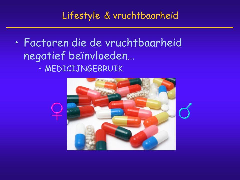•Factoren die de vruchtbaarheid negatief beïnvloeden… •MEDICIJNGEBRUIK Lifestyle & vruchtbaarheid