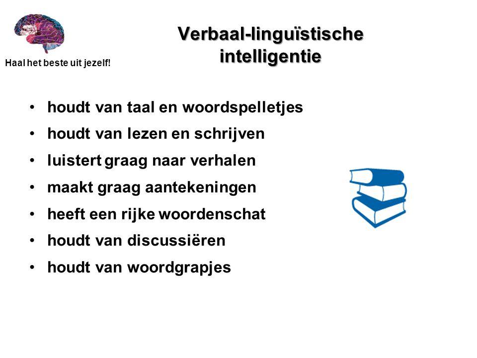 Haal het beste uit jezelf! Verbaal-linguïstische intelligentie •houdt van taal en woordspelletjes •houdt van lezen en schrijven •luistert graag naar v