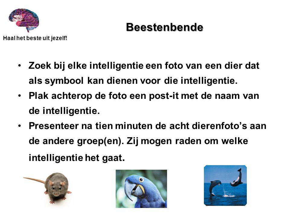 Haal het beste uit jezelf! Beestenbende •Zoek bij elke intelligentie een foto van een dier dat als symbool kan dienen voor die intelligentie. •Plak ac