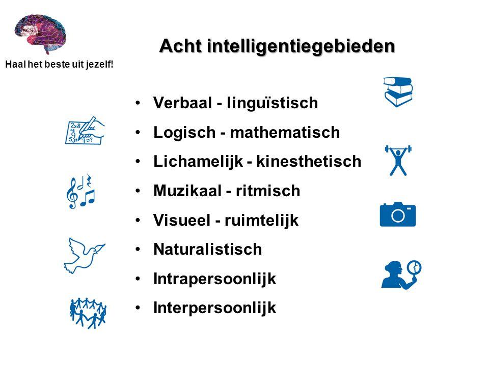 Haal het beste uit jezelf! Acht intelligentiegebieden •Verbaal - linguïstisch •Logisch - mathematisch •Lichamelijk - kinesthetisch •Muzikaal - ritmisc