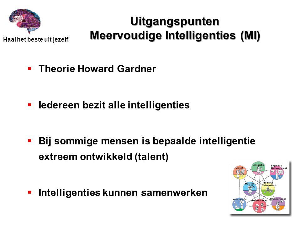 Haal het beste uit jezelf! Uitgangspunten Meervoudige Intelligenties (MI)  Theorie Howard Gardner  Iedereen bezit alle intelligenties  Bij sommige