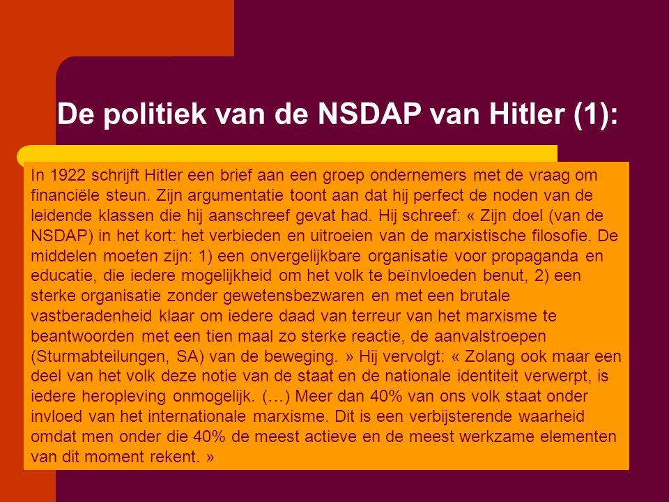 De politiek van de NSDAP van Hitler (1): In 1922 schrijft Hitler een brief aan een groep ondernemers met de vraag om financiële steun. Zijn argumentat