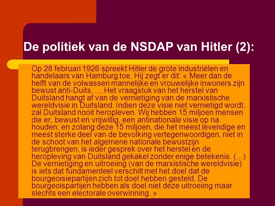 De politiek van de NSDAP van Hitler (2): Op 28 februari 1926 spreekt Hitler de grote industriëlen en handelaars van Hamburg toe. Hij zegt er dit: « Me