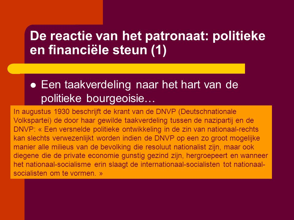 De reactie van het patronaat: politieke en financiële steun (1)  Een taakverdeling naar het hart van de politieke bourgeoisie… In augustus 1930 besch