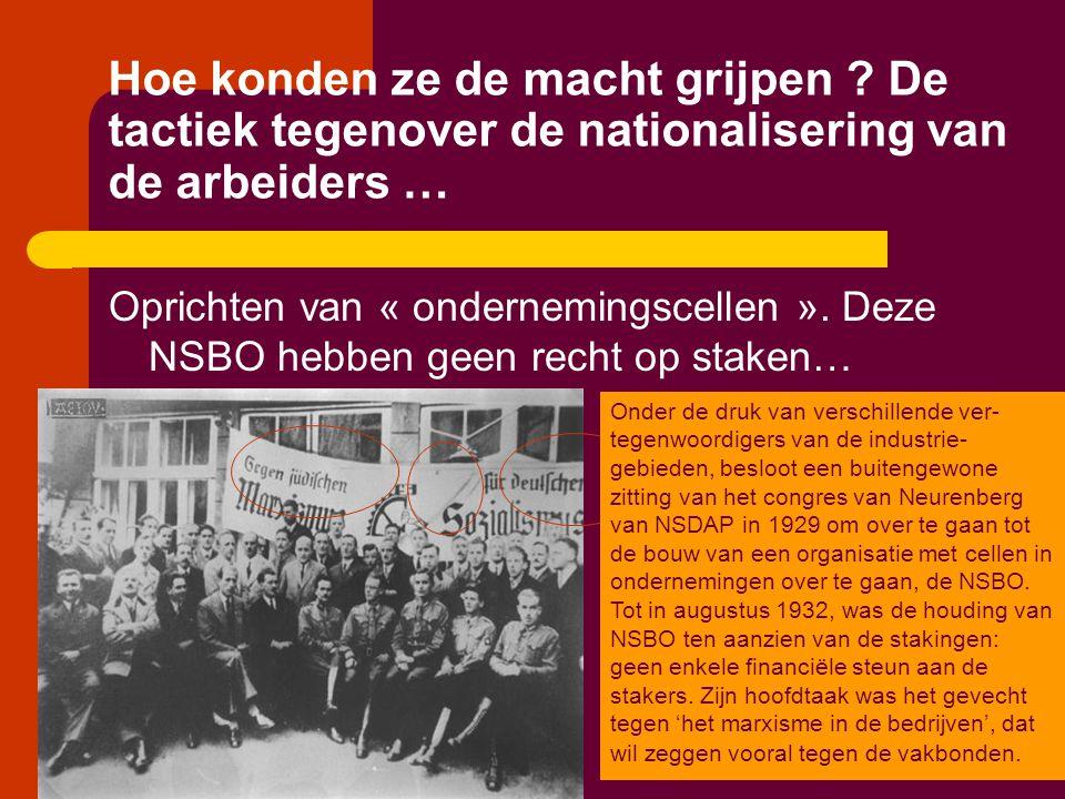 Hoe konden ze de macht grijpen ? De tactiek tegenover de nationalisering van de arbeiders … Oprichten van « ondernemingscellen ». Deze NSBO hebben gee