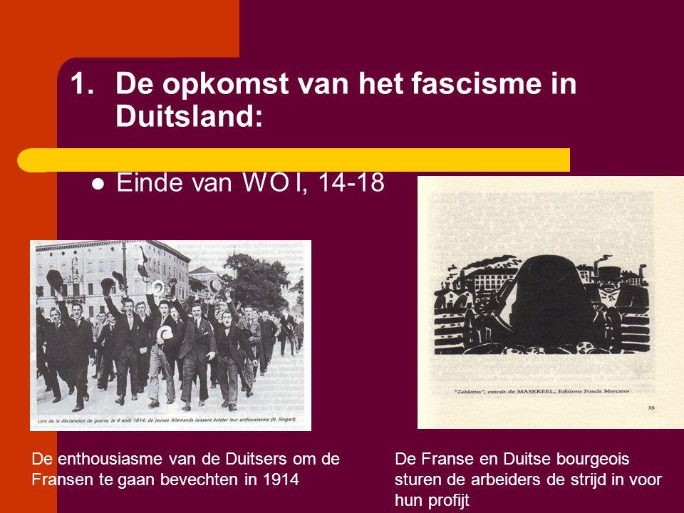 1.De opkomst van het fascisme in Duitsland:  Einde van WO I, 14-18 De enthousiasme van de Duitsers om de Fransen te gaan bevechten in 1914 De Franse