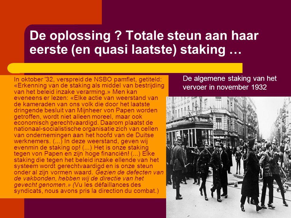 De oplossing ? Totale steun aan haar eerste (en quasi laatste) staking … In oktober '32, verspreid de NSBO pamflet, getiteld: «Erkenning van de stakin