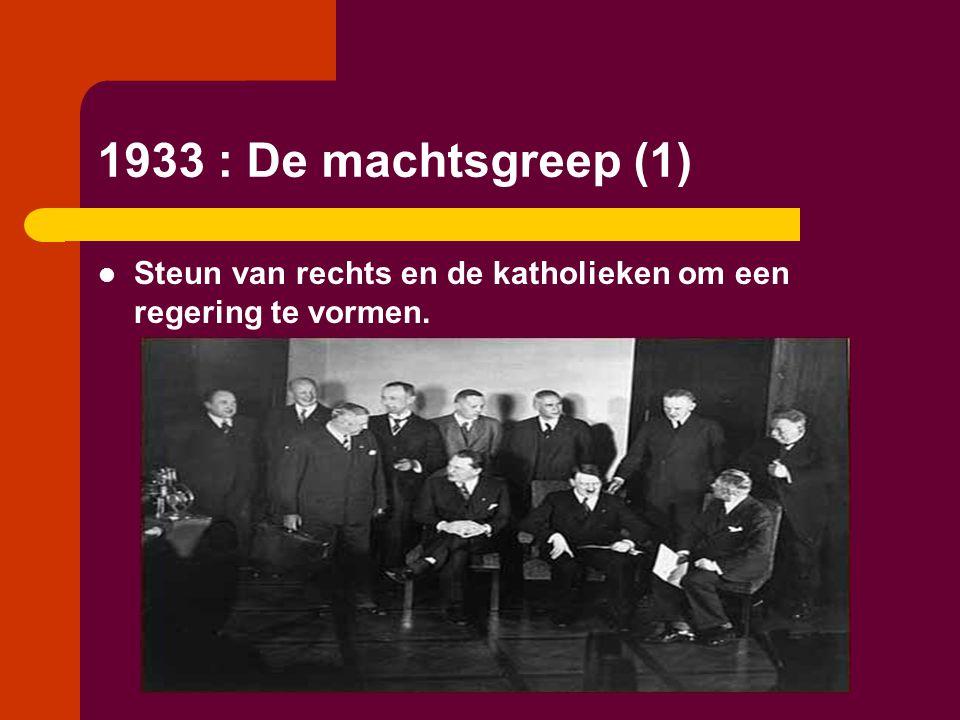 1933 : De machtsgreep (1)  Steun van rechts en de katholieken om een regering te vormen.