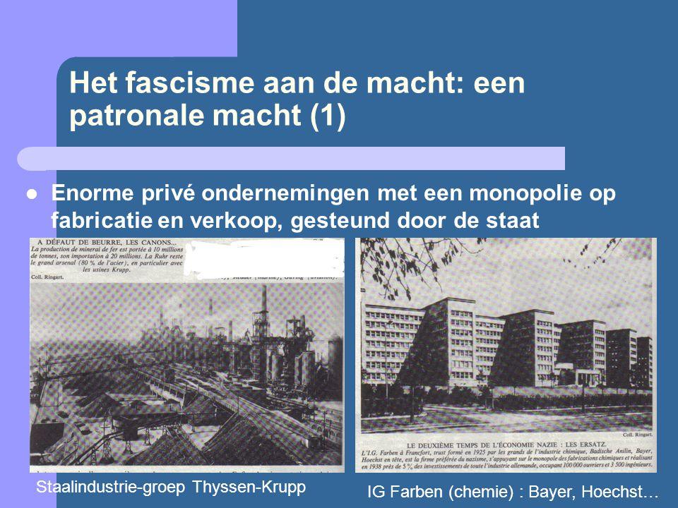 Het fascisme aan de macht: een patronale macht (1)  Enorme privé ondernemingen met een monopolie op fabricatie en verkoop, gesteund door de staat Sta