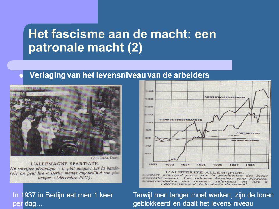 Het fascisme aan de macht: een patronale macht (2)  Verlaging van het levensniveau van de arbeiders In 1937 in Berlijn eet men 1 keer per dag… Terwij