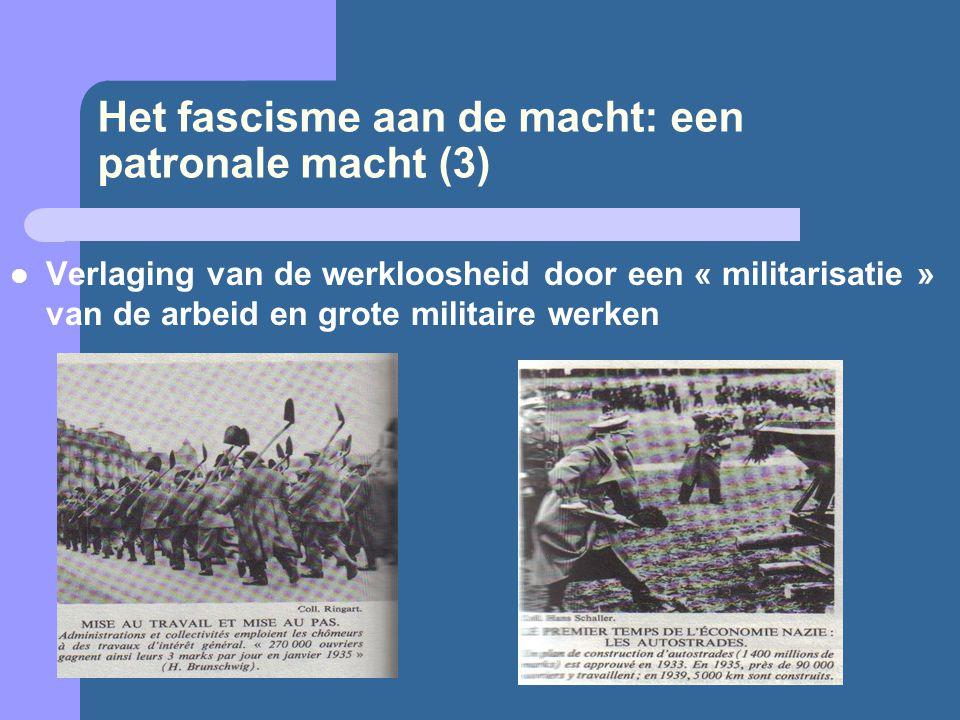Het fascisme aan de macht: een patronale macht (3)  Verlaging van de werkloosheid door een « militarisatie » van de arbeid en grote militaire werken