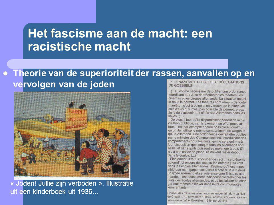 Het fascisme aan de macht: een racistische macht  Theorie van de superioriteit der rassen, aanvallen op en vervolgen van de joden « Joden! Jullie zij