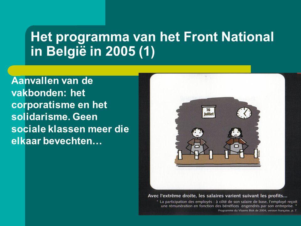Het programma van het Front National in België in 2005 (1) Aanvallen van de vakbonden: het corporatisme en het solidarisme. Geen sociale klassen meer