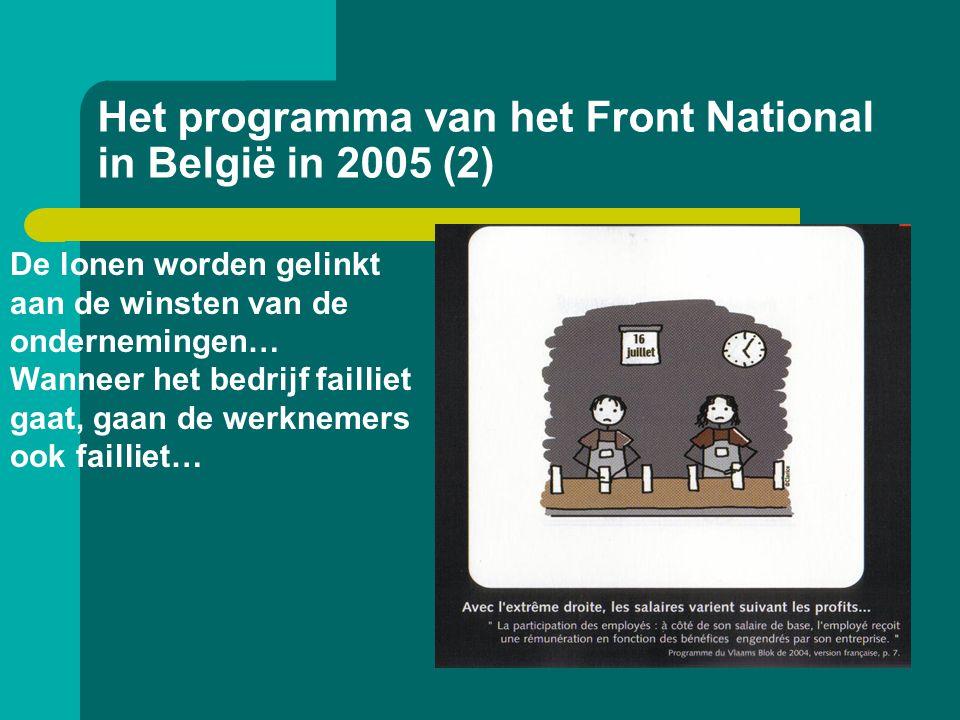Het programma van het Front National in België in 2005 (2) De lonen worden gelinkt aan de winsten van de ondernemingen… Wanneer het bedrijf failliet g