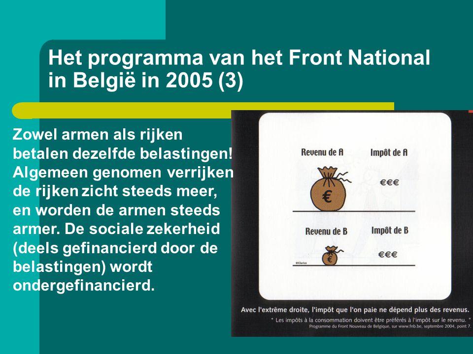 Het programma van het Front National in België in 2005 (3) Zowel armen als rijken betalen dezelfde belastingen! Algemeen genomen verrijken de rijken z