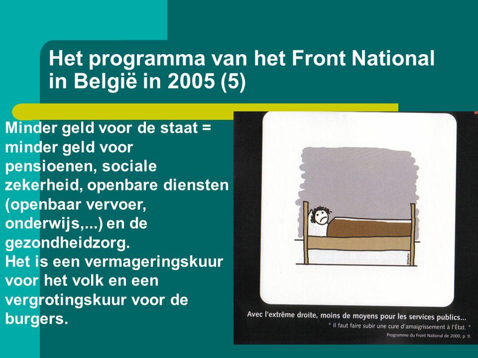 Het programma van het Front National in België in 2005 (5) Minder geld voor de staat = minder geld voor pensioenen, sociale zekerheid, openbare dienst