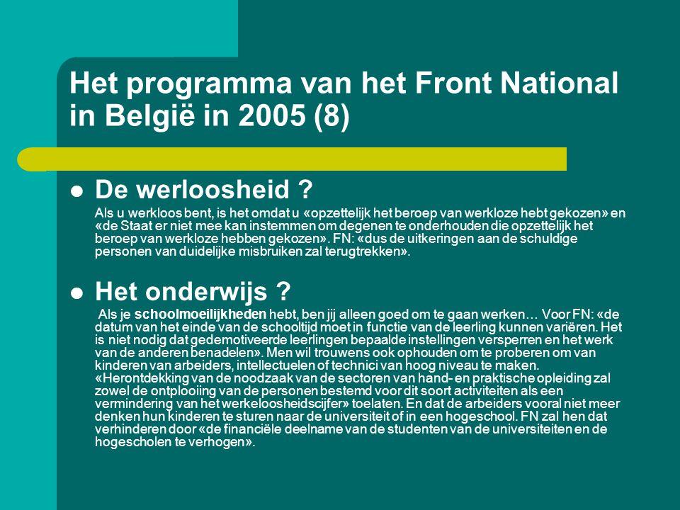 Het programma van het Front National in België in 2005 (8)  De werloosheid ? Als u werkloos bent, is het omdat u «opzettelijk het beroep van werkloze