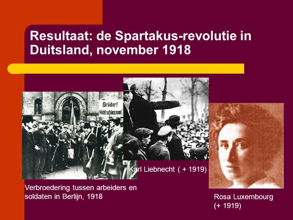 Resultaat: de Spartakus-revolutie in Duitsland, november 1918 Verbroedering tussen arbeiders en soldaten in Berlijn, 1918 Karl Liebnecht ( + 1919) Ros