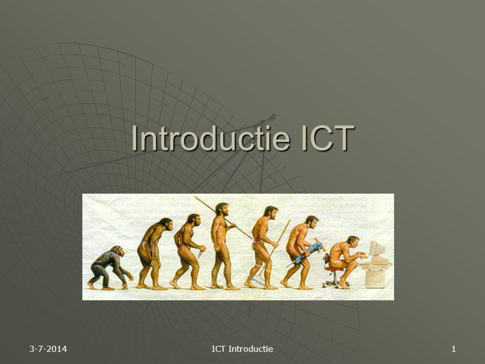 Opzet van het vak ICT  Ongeveer 8 opdrachten dit jaar  Beoordeling per opdracht: •G oed->(Bijna) alles goed •V oldoende-> Aantal foutjes, maar goed genoeg •O nvoldoende->Teveel fout 3-7-2014 ICT Introductie 2