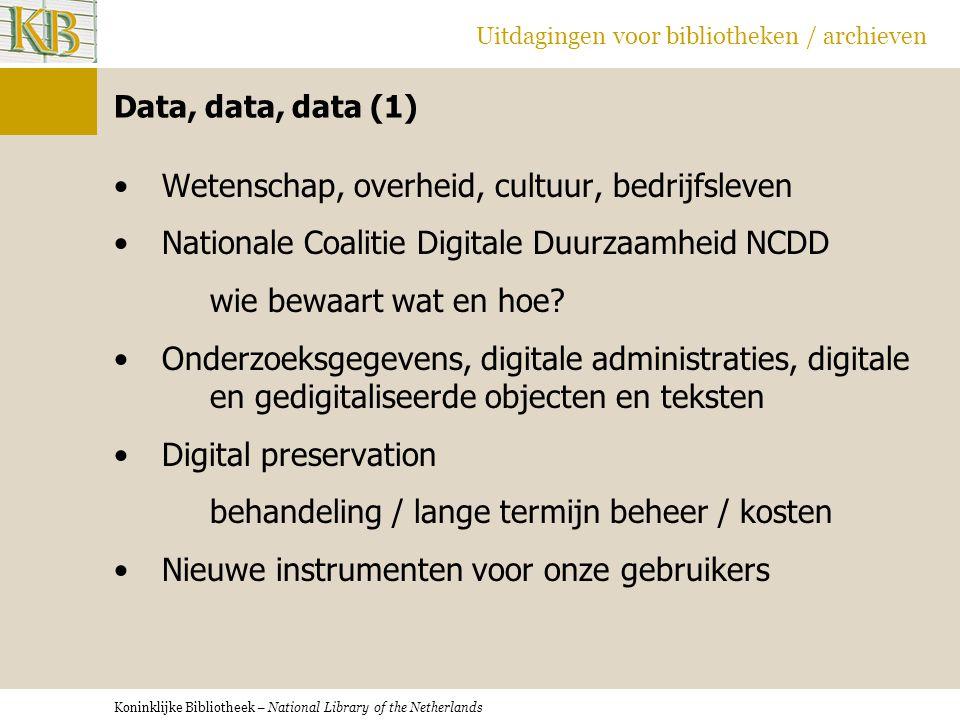 Koninklijke Bibliotheek – National Library of the Netherlands Uitdagingen voor bibliotheken / archieven Data, data, data (1) •Wetenschap, overheid, cu