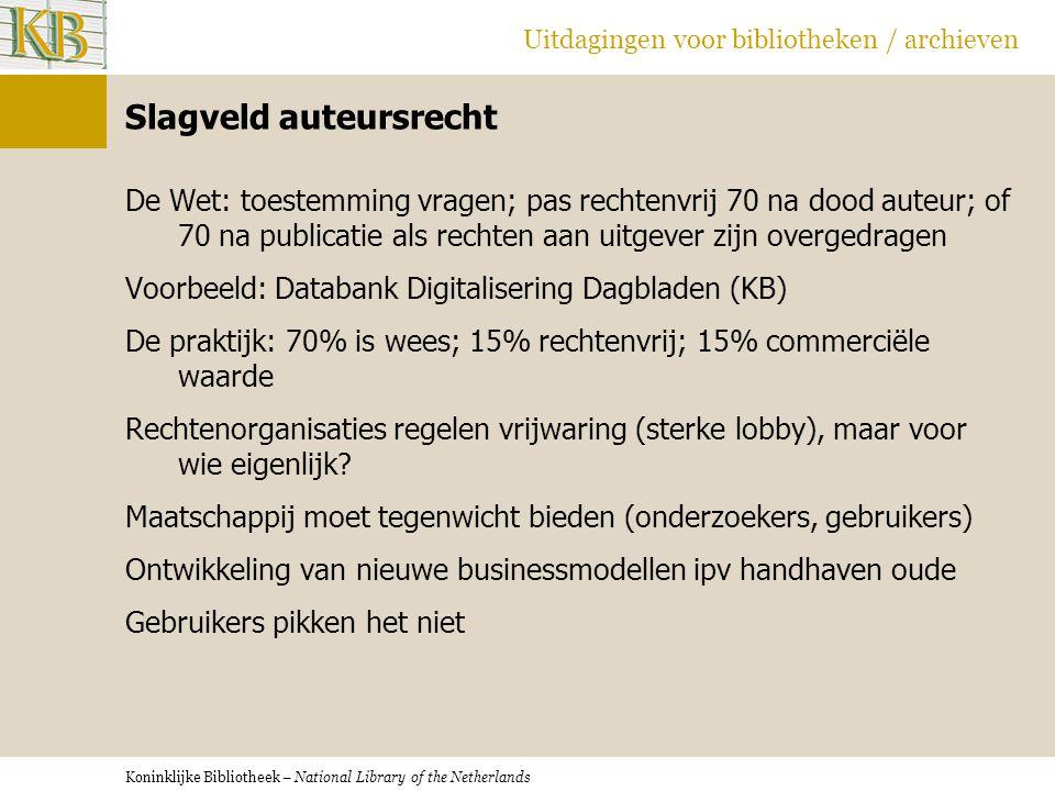 Koninklijke Bibliotheek – National Library of the Netherlands Uitdagingen voor bibliotheken / archieven Slagveld auteursrecht De Wet: toestemming vrag