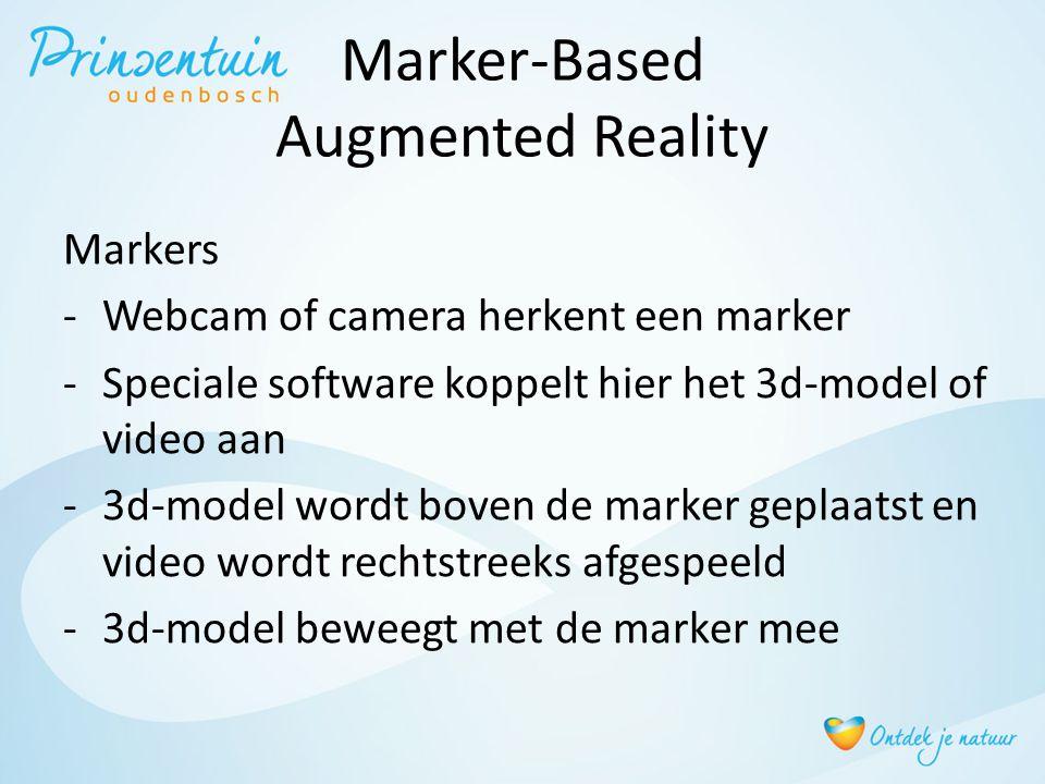 Marker-Based Augmented Reality Markers -Webcam of camera herkent een marker -Speciale software koppelt hier het 3d-model of video aan -3d-model wordt