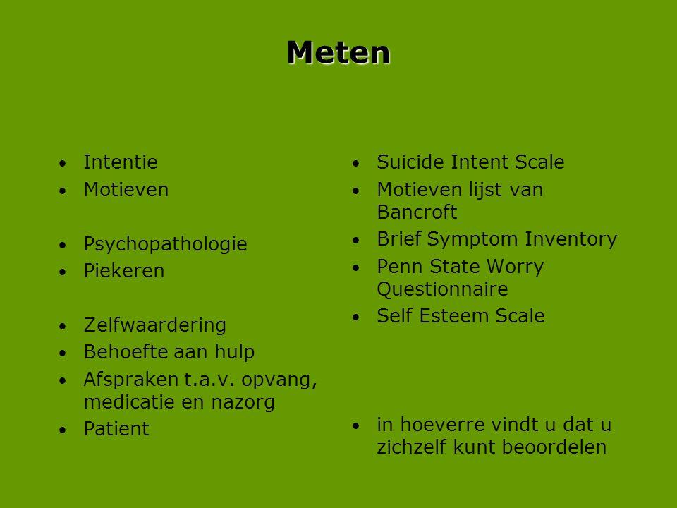 Meten • Intentie • Motieven • Psychopathologie • Piekeren • Zelfwaardering • Behoefte aan hulp • Afspraken t.a.v. opvang, medicatie en nazorg • Patien