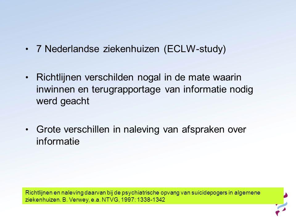 • 7 Nederlandse ziekenhuizen (ECLW-study) • Richtlijnen verschilden nogal in de mate waarin inwinnen en terugrapportage van informatie nodig werd geac