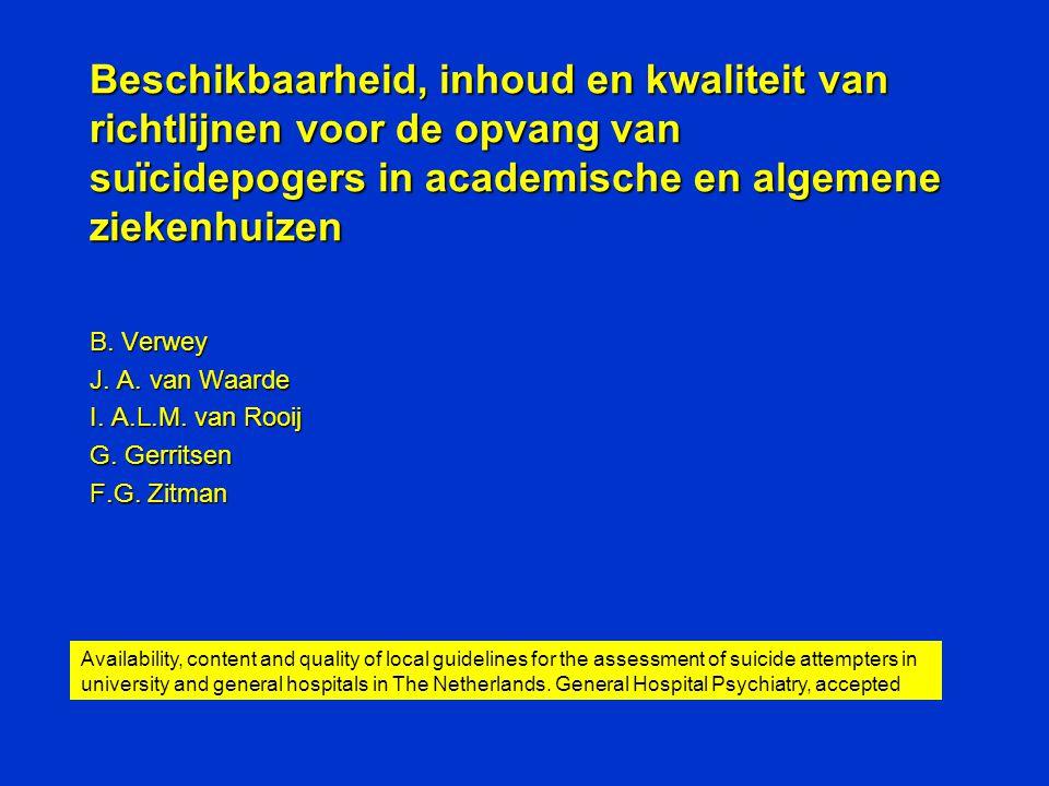 Beschikbaarheid, inhoud en kwaliteit van richtlijnen voor de opvang van suïcidepogers in academische en algemene ziekenhuizen B. Verwey J. A. van Waar