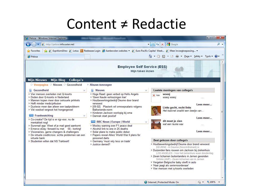Content ≠ Redactie
