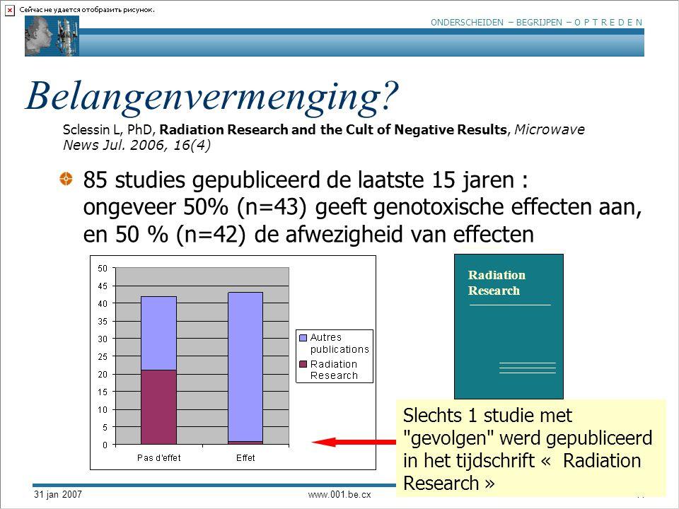 ONDERSCHEIDEN – BEGRIJPEN – O P T R E D E N 31 jan 2007www.001.be.cx11 85 studies gepubliceerd de laatste 15 jaren : ongeveer 50% (n=43) geeft genotoxische effecten aan, en 50 % (n=42) de afwezigheid van effecten © Radiation Research Radiation Research Slechts 1 studie met gevolgen werd gepubliceerd in het tijdschrift « Radiation Research » Sclessin L, PhD, Radiation Research and the Cult of Negative Results, Microwave News Jul.