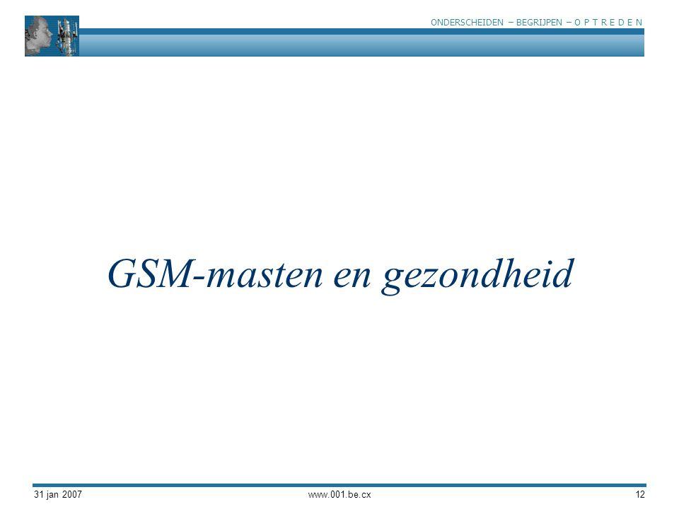 ONDERSCHEIDEN – BEGRIJPEN – O P T R E D E N 31 jan 2007www.001.be.cx12 GSM-masten en gezondheid