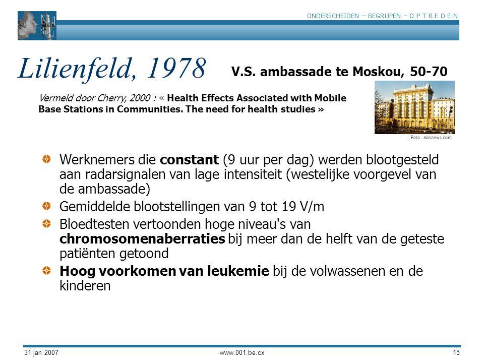ONDERSCHEIDEN – BEGRIJPEN – O P T R E D E N 31 jan 2007www.001.be.cx15 Lilienfeld, 1978 Werknemers die constant (9 uur per dag) werden blootgesteld aa
