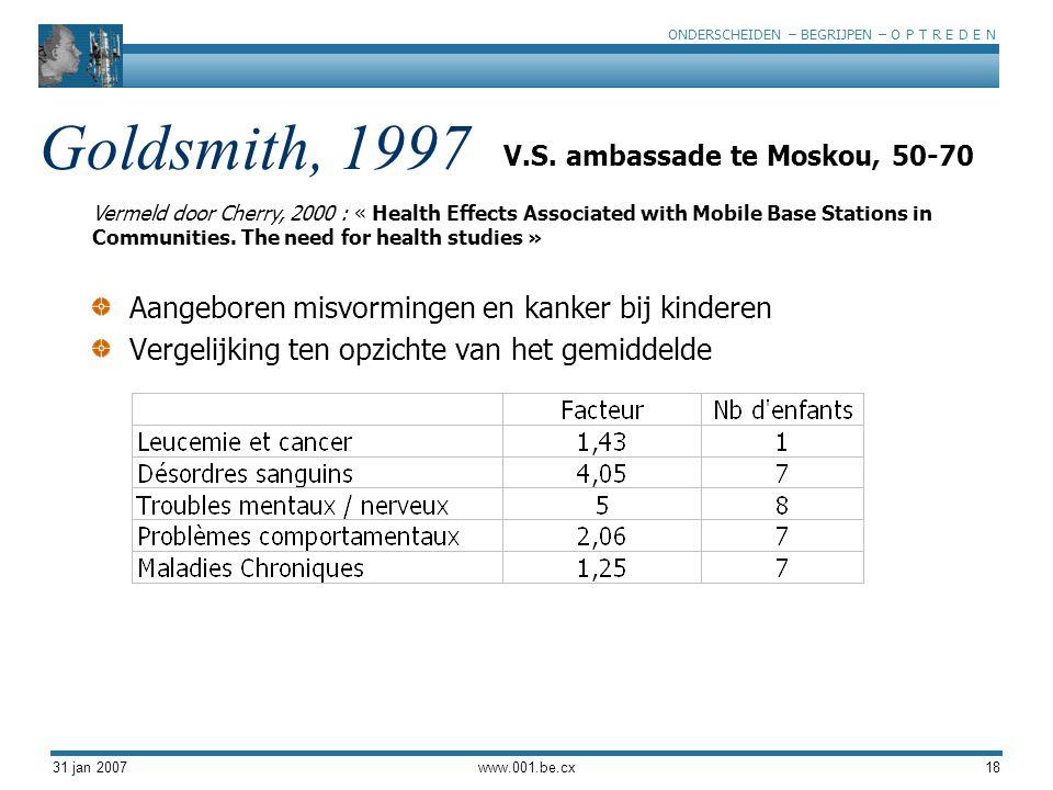 ONDERSCHEIDEN – BEGRIJPEN – O P T R E D E N 31 jan 2007www.001.be.cx18 Goldsmith, 1997 Aangeboren misvormingen en kanker bij kinderen Vergelijking ten