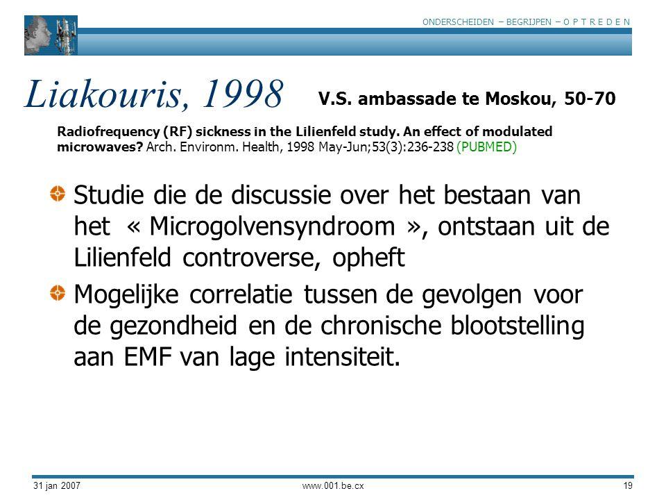 ONDERSCHEIDEN – BEGRIJPEN – O P T R E D E N 31 jan 2007www.001.be.cx19 Liakouris, 1998 Studie die de discussie over het bestaan van het « Microgolvensyndroom », ontstaan uit de Lilienfeld controverse, opheft Mogelijke correlatie tussen de gevolgen voor de gezondheid en de chronische blootstelling aan EMF van lage intensiteit.