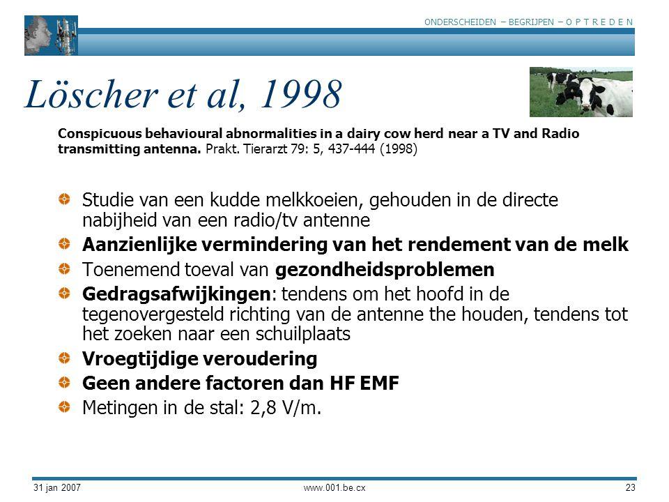 ONDERSCHEIDEN – BEGRIJPEN – O P T R E D E N 31 jan 2007www.001.be.cx23 Löscher et al, 1998 Studie van een kudde melkkoeien, gehouden in de directe nabijheid van een radio/tv antenne Aanzienlijke vermindering van het rendement van de melk Toenemend toeval van gezondheidsproblemen Gedragsafwijkingen: tendens om het hoofd in de tegenovergesteld richting van de antenne the houden, tendens tot het zoeken naar een schuilplaats Vroegtijdige veroudering Geen andere factoren dan HF EMF Metingen in de stal: 2,8 V/m.