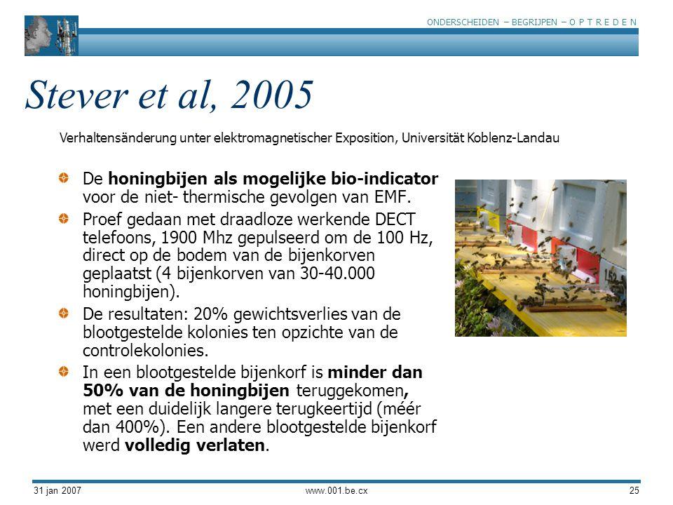 ONDERSCHEIDEN – BEGRIJPEN – O P T R E D E N 31 jan 2007www.001.be.cx25 Stever et al, 2005 De honingbijen als mogelijke bio-indicator voor de niet- thermische gevolgen van EMF.