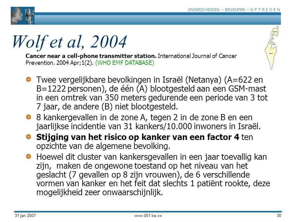 ONDERSCHEIDEN – BEGRIJPEN – O P T R E D E N 31 jan 2007www.001.be.cx30 Wolf et al, 2004 Twee vergelijkbare bevolkingen in Israël (Netanya) (A=622 en B=1222 personen), de één (A) blootgesteld aan een GSM-mast in een omtrek van 350 meters gedurende een periode van 3 tot 7 jaar, de andere (B) niet blootgesteld.