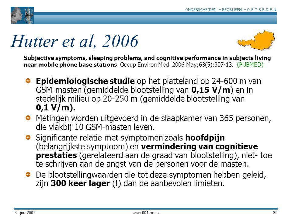 ONDERSCHEIDEN – BEGRIJPEN – O P T R E D E N 31 jan 2007www.001.be.cx35 Hutter et al, 2006 Epidemiologische studie op het platteland op 24-600 m van GSM-masten (gemiddelde blootstelling van 0,15 V/m) en in stedelijk milieu op 20-250 m (gemiddelde blootstelling van 0,1 V/m).