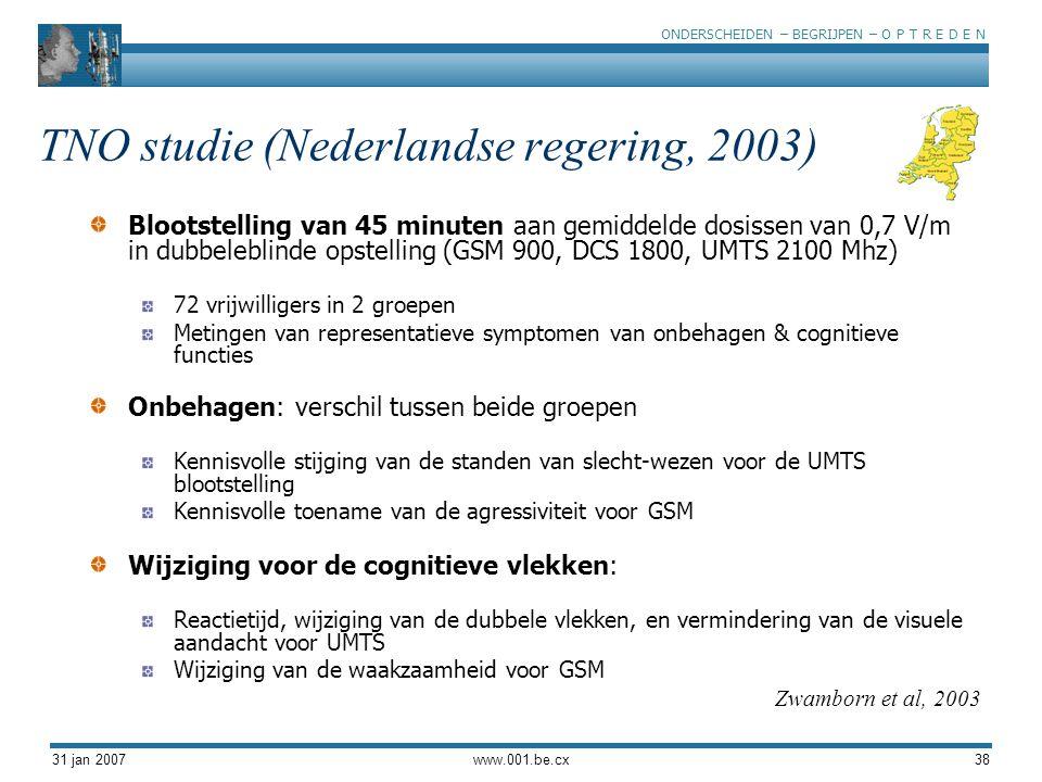 ONDERSCHEIDEN – BEGRIJPEN – O P T R E D E N 31 jan 2007www.001.be.cx38 TNO studie (Nederlandse regering, 2003) Blootstelling van 45 minuten aan gemidd