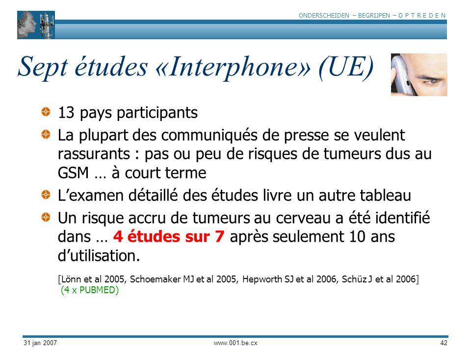 ONDERSCHEIDEN – BEGRIJPEN – O P T R E D E N 31 jan 2007www.001.be.cx42 Sept études «Interphone» (UE) 13 pays participants La plupart des communiqués d