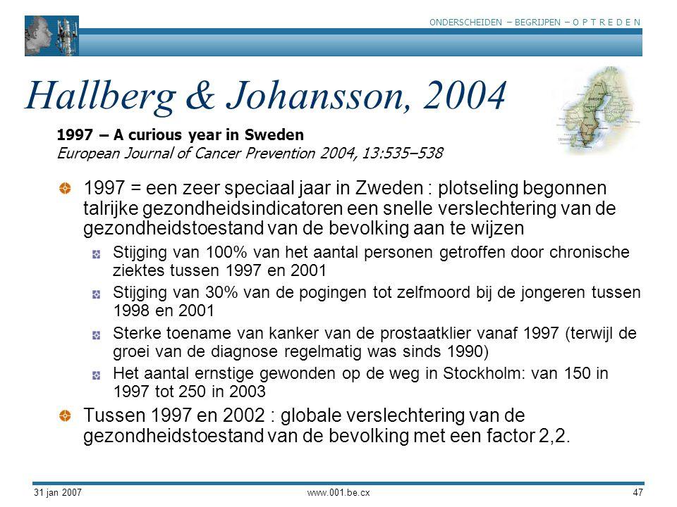 ONDERSCHEIDEN – BEGRIJPEN – O P T R E D E N 31 jan 2007www.001.be.cx47 Hallberg & Johansson, 2004 1997 = een zeer speciaal jaar in Zweden : plotseling
