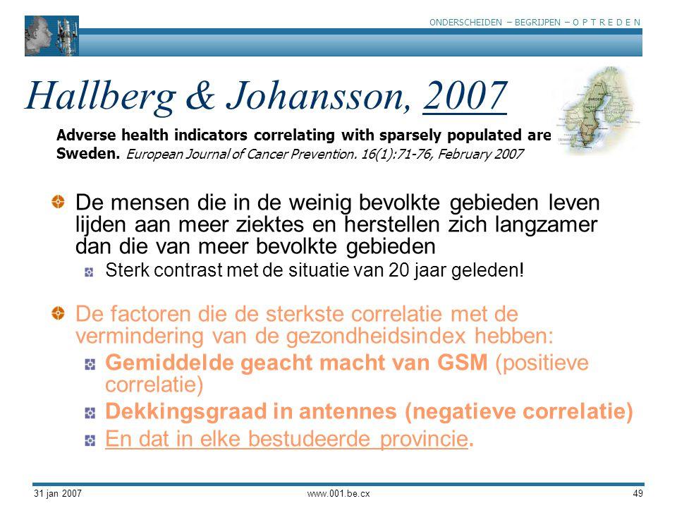 ONDERSCHEIDEN – BEGRIJPEN – O P T R E D E N 31 jan 2007www.001.be.cx49 Hallberg & Johansson, 2007 De mensen die in de weinig bevolkte gebieden leven lijden aan meer ziektes en herstellen zich langzamer dan die van meer bevolkte gebieden Sterk contrast met de situatie van 20 jaar geleden.