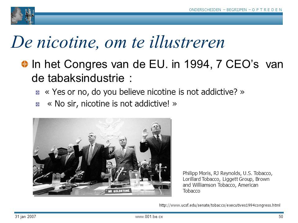 ONDERSCHEIDEN – BEGRIJPEN – O P T R E D E N 31 jan 2007www.001.be.cx50 De nicotine, om te illustreren In het Congres van de EU. in 1994, 7 CEO's van d